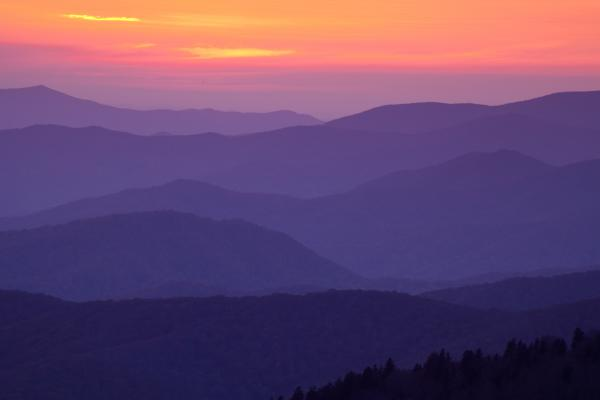 Sunset From Atop The Smokies Print by Andrew Soundarajan