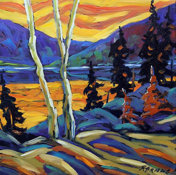 Sunset Geo Landscape Original Oil Painting By Prankearts Print by Richard T Pranke