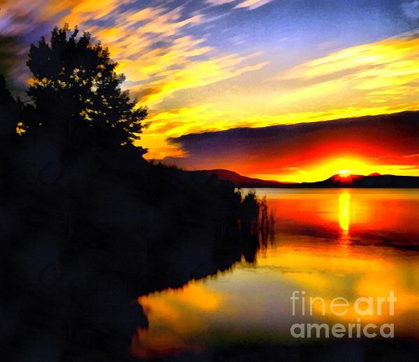 Sunset In Balaton Lake Print by Odon Czintos
