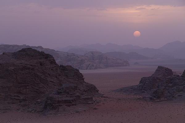 Sunset In Wadi Rum Jordan Print by Alison Buttigieg