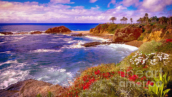 Sunset Laguna Beach California Print by  Bob and Nadine Johnston