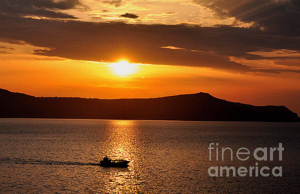 Sunset Off The Island Of Santorini Print by MaryJane Armstrong