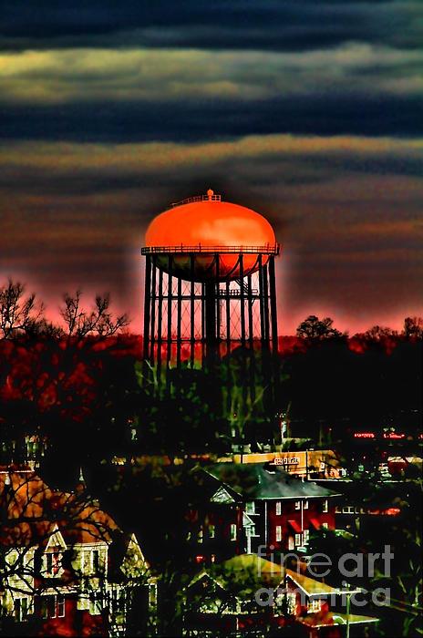 Sunset On A Charlotte Water Tower By Diana Sainz Print by Diana Sainz