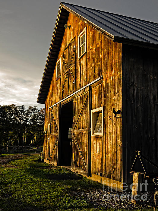 Sunset On The Horse Barn Print by Edward Fielding