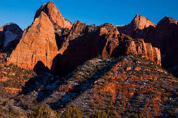 Sunset On The Kolob Canyon Rocks Zion National Park Utah Print by Robert Ford