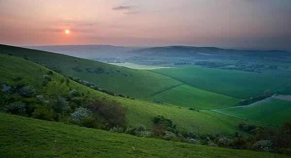 Sunset Over English Countryside Escarpment Landscape Print by Matthew Gibson