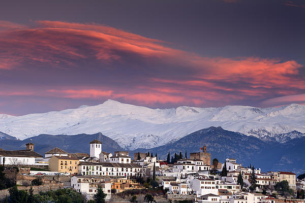 Sunset Over Granada And The Alhambra Castle Print by Guido Montanes Castillo