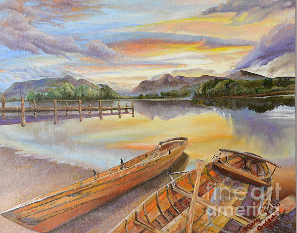 Sunset Over Serenity Lake Print by Mary Ellen Anderson