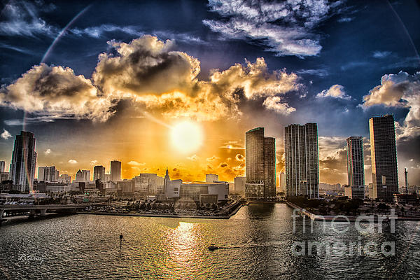 Sunset Over The Arena Hdr Print by Rene Triay Photography