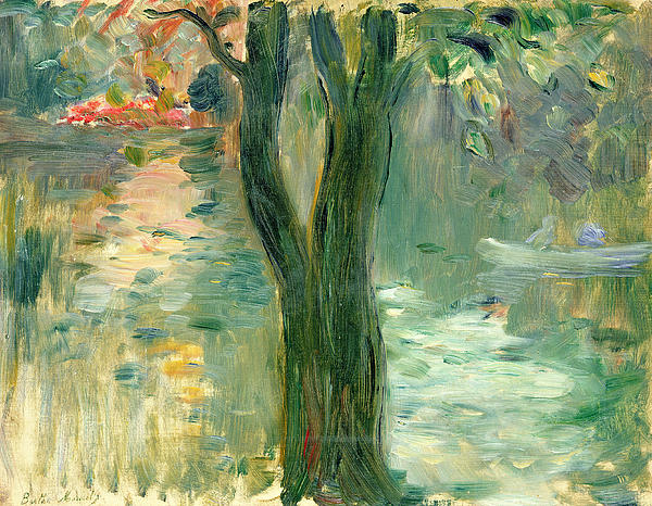 Sunset Over The Lake Bois De Boulogne Print by Berthe Morisot