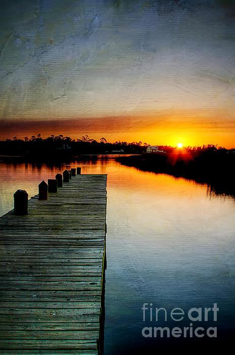 Sunset Pier Print by Joan McCool