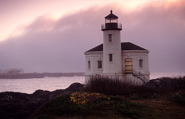 Sunset Portrait Of The Coquille River Lighthouse Print by Joe Klune