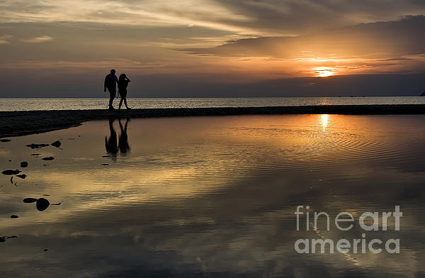 Sunset Reflection And Silhouettes Print by Daliana Pacuraru