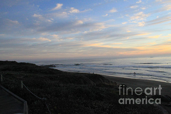Sunset Surf Print by Linda Woods