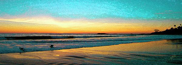 Sunset With Birds Print by Ben and Raisa Gertsberg
