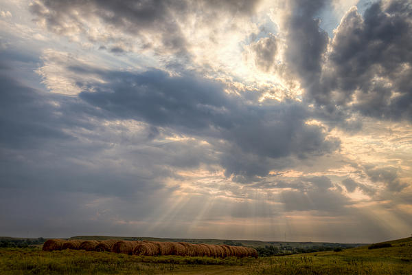 Sunshine And Hay Bales Print by Scott Bean
