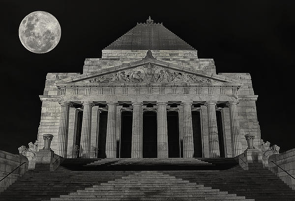 Super Moon Behind Shrine Of Remembrance  Print by Kim Andelkovic