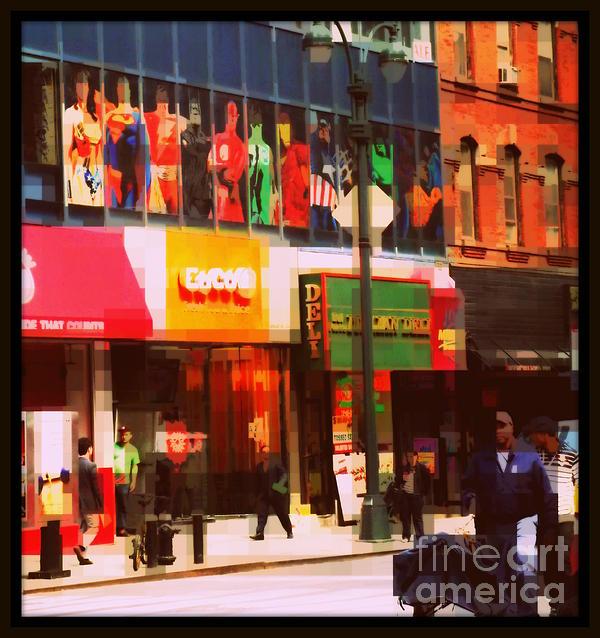 Superheroes Of New York - Midtown In Gotham City Print by Miriam Danar