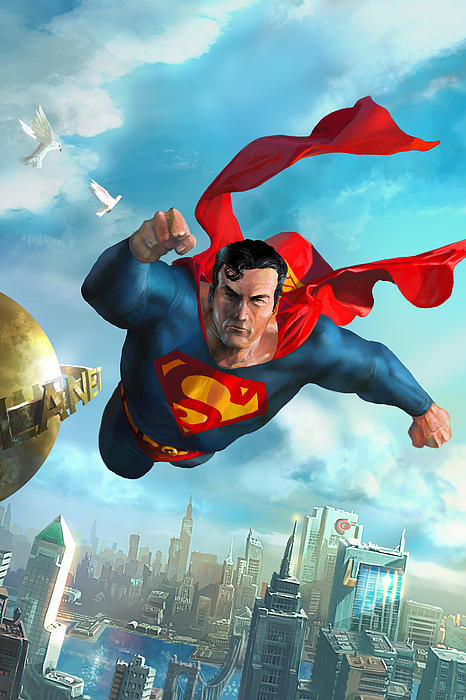Superman Over Metropolis Print by Ryan Barger