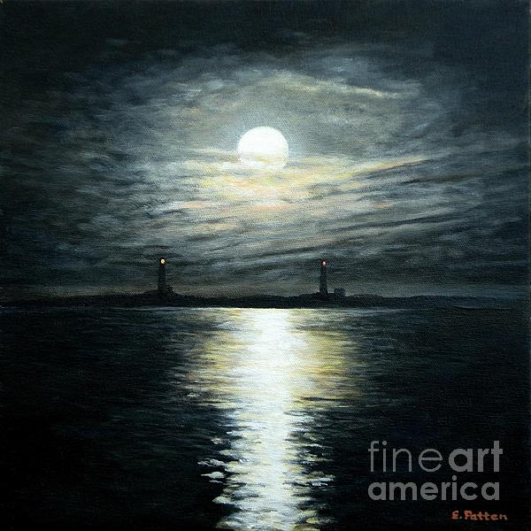 Supermoon Rising Over Thacher Island Print by Eileen Patten Oliver