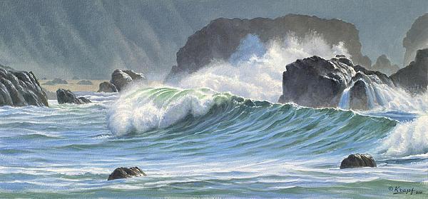 Surf And Rocks-harris Beach Print by Paul Krapf