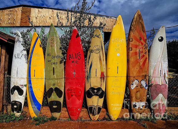 Surf Board Fence Maui Hawaii Print by Edward Fielding