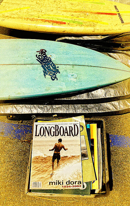 Surfboards And Magazines Print by Ron Regalado