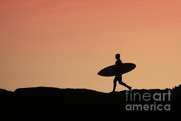 Surfer Crossing Print by Paul Topp