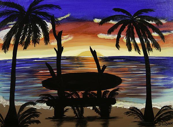 Surfers Bench Print by Donna Guzman