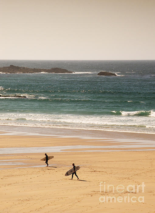Surfers On Beach 01 Print by Pixel Chimp