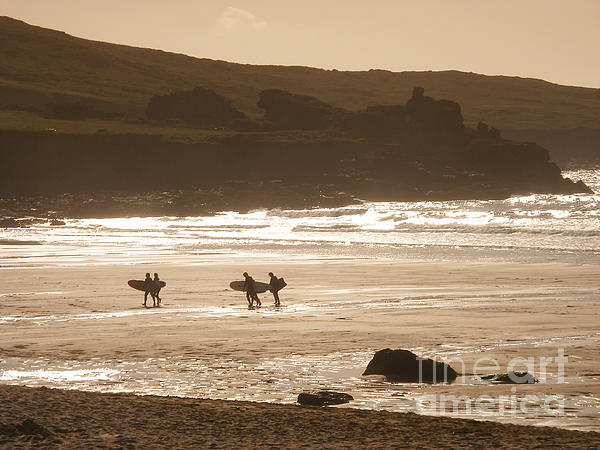 Surfers On Beach 02 Print by Pixel Chimp