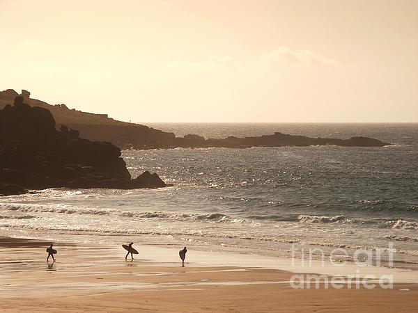 Surfers On Beach 03 Print by Pixel Chimp