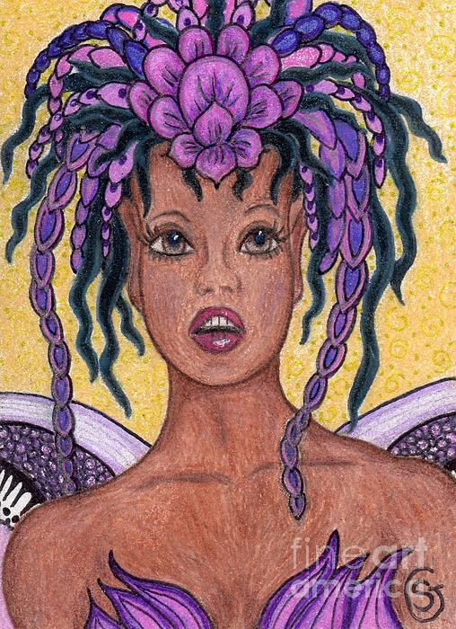 Surprise It Is The Iris Fairy Print by Sherry Goeben