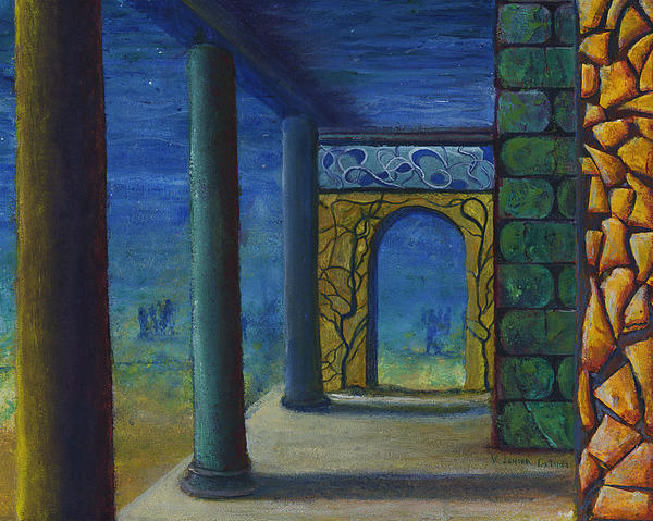Surreal Art With Walls And Columns Print by Lenora  De Lude