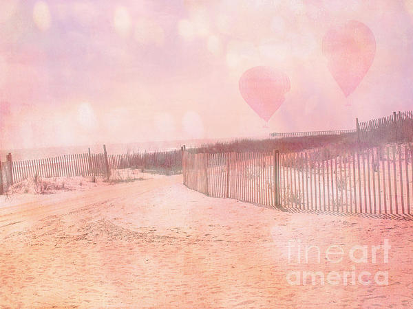 Surreal Dreamy Pink Coastal Summer Beach Ocean With Balloons Print by Kathy Fornal