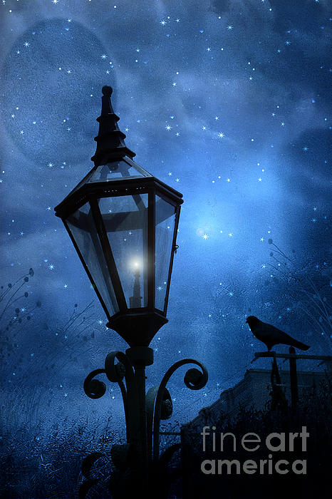Surreal Fantasy Gothic Blue Night Lantern With Ravens - Starry Night Surreal Lantern Blue Moon Print by Kathy Fornal