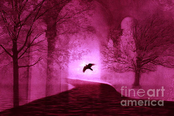 Surreal Fantasy Gothic Raven Crow Nature Print by Kathy Fornal