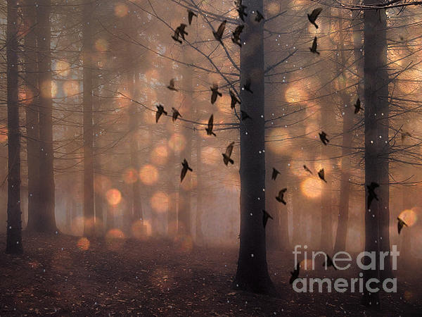 Kathy Fornal - Surreal Fantasy Fairytale Haunting Woodlands Brown Surreal Nature Trees Birds Flying