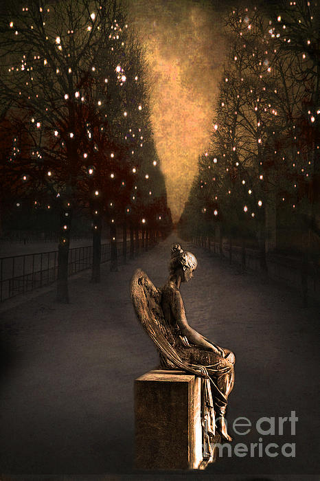Surreal Gothic Haunting Emotive Paris Angel Art Print by Kathy Fornal