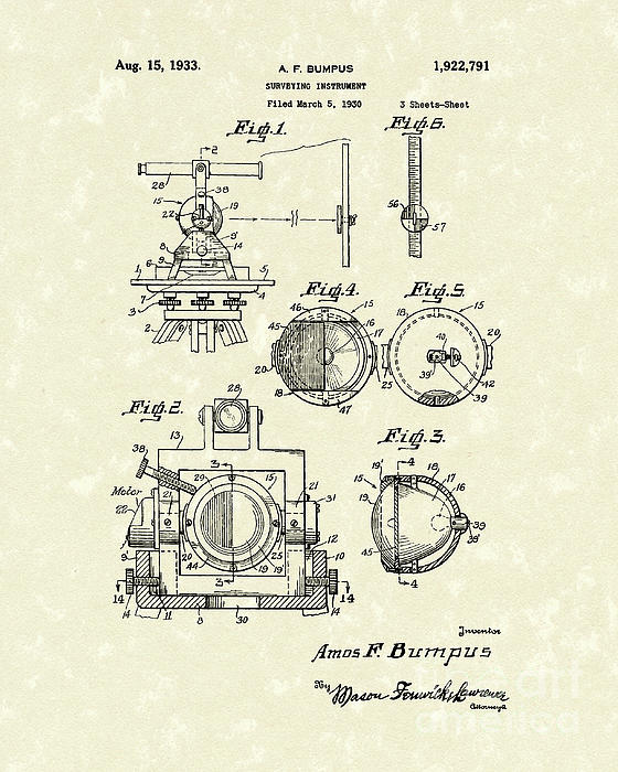 Surveying Instrument 1933 Patent Art Print by Prior Art Design