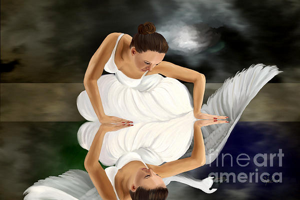 Swans Print by Sydne Archambault