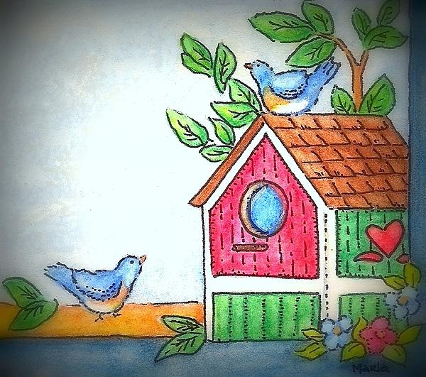 Sweet Birdies Come Home Print by MarLa Hoover