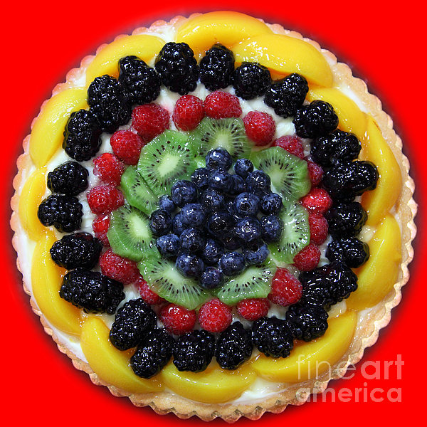 Sweet Treats - Fruit Cake - 5d20920 - Square - Red by Wingsdomain Art and Photography