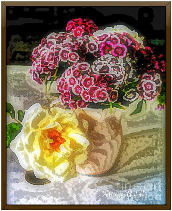 Sweet Williams With Rose Print by Alexis Rotella