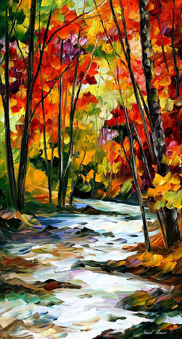 Leonid Afremov - Swirling Stream - PALETTE KNIFE Oil Painting On Canvas By Leonid Afremov