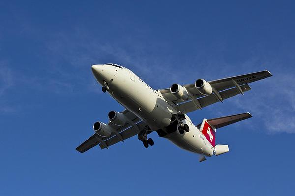 Swiss Air Bae 146 Print by David Pyatt