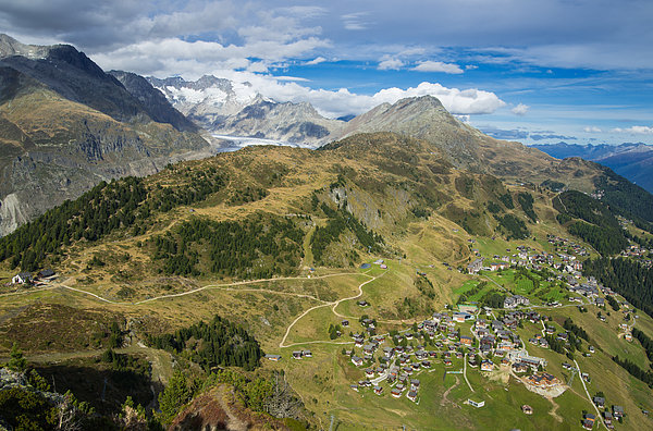 Swiss Alps Great View Towards Riederalp Aletsch Forest And Aletsch Glacier Print by Matthias Hauser