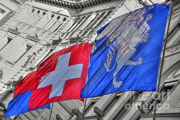 Swiss Flags Print by Mats Silvan