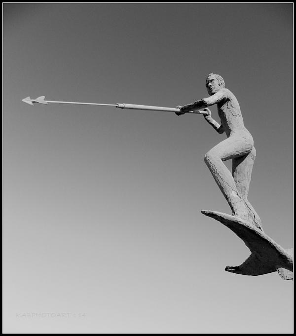 Kathy Barney - Swordfish Harpooner in Black and White