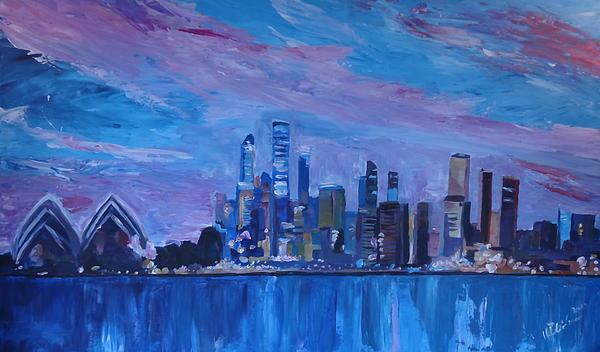 Sydney Skyline With Opera House At Dusk Print by M Bleichner